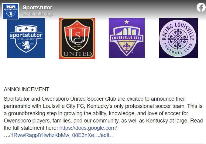 SportsTutor & Owensboro United Announce Partnership with Louisville City FC